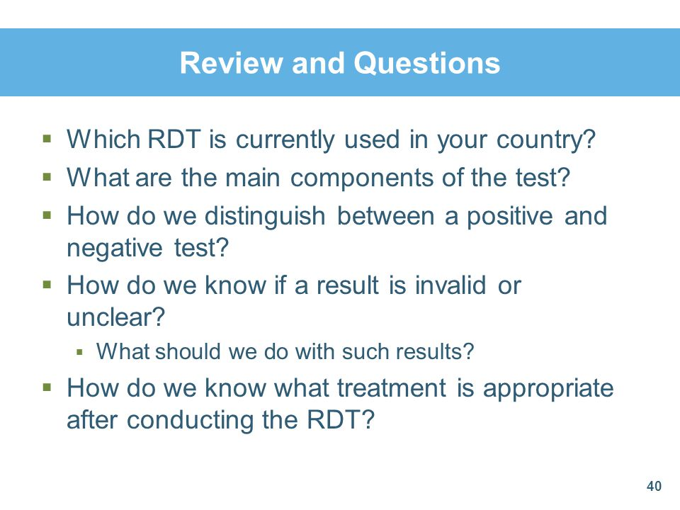 Review and Questions Which RDT is currently used in your country
