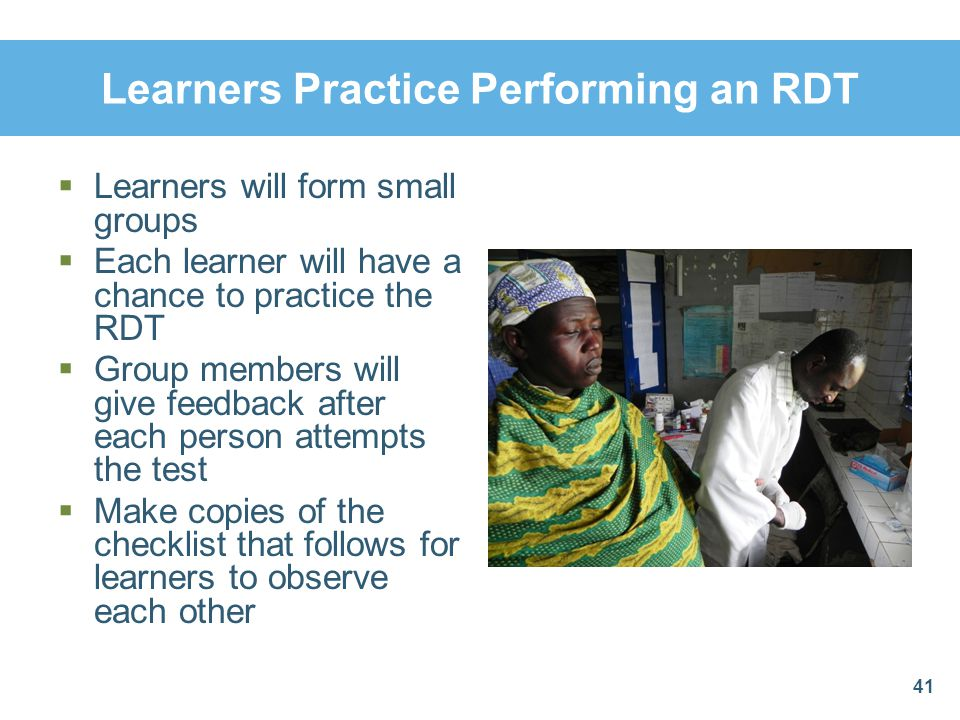 Learners Practice Performing an RDT