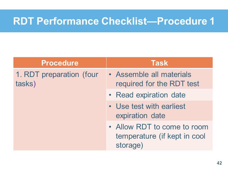 RDT Performance Checklist—Procedure 1