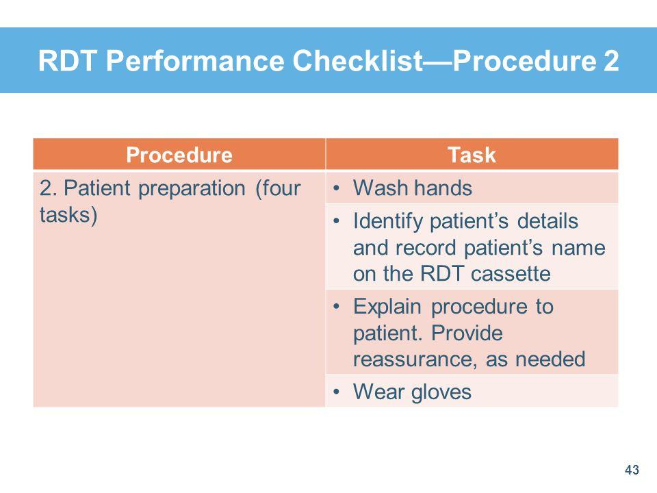 RDT Performance Checklist—Procedure 2