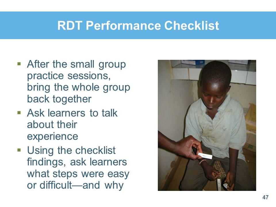 RDT Performance Checklist