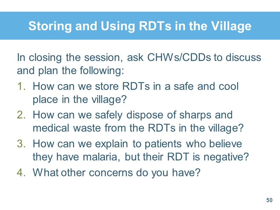 Storing and Using RDTs in the Village