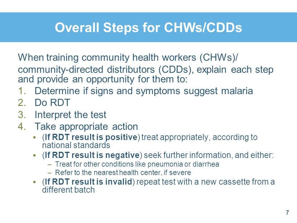 Overall Steps for CHWs/CDDs