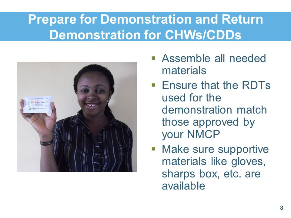 Prepare for Demonstration and Return Demonstration for CHWs/CDDs