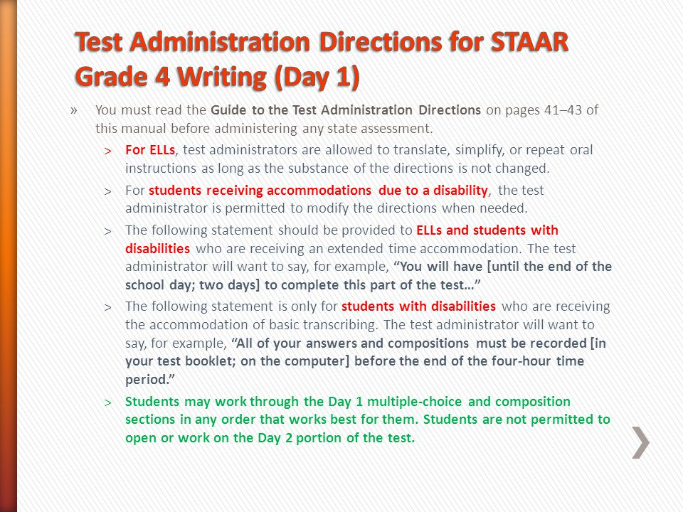 Test Administration Directions for STAAR Grade 4 Writing (Day 1)