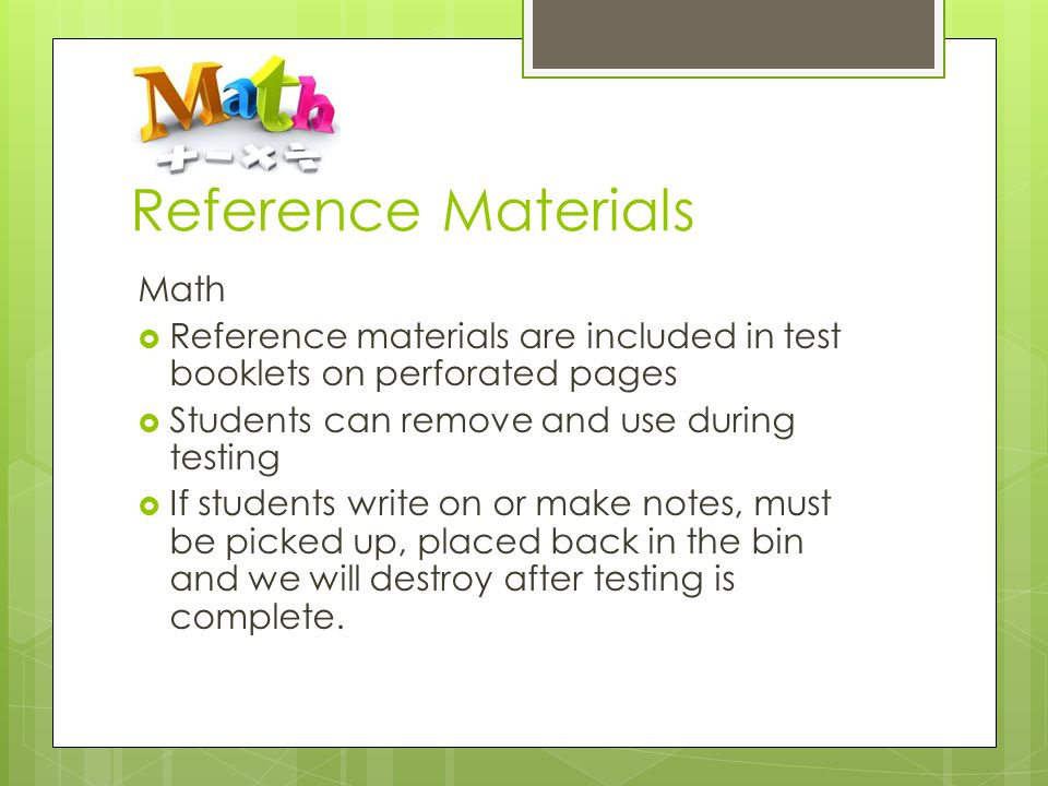 Reference Materials Math