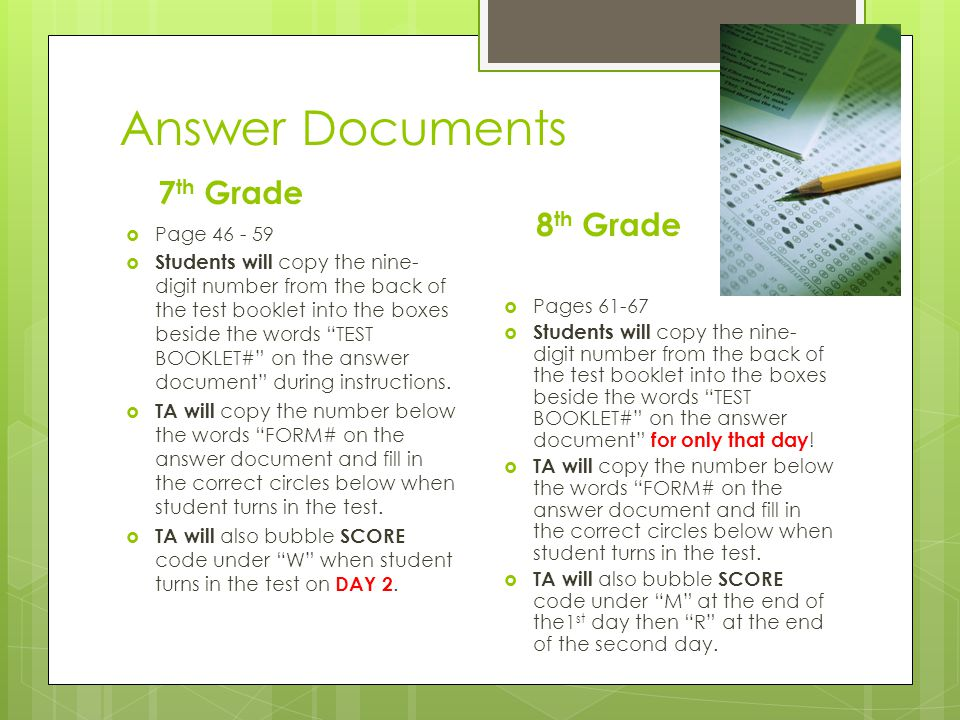 Answer Documents 7th Grade 8th Grade Page 46 - 59