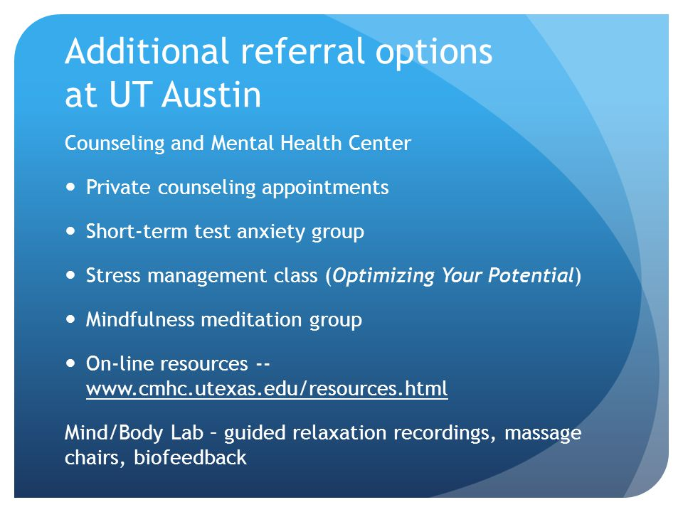 Additional referral options at UT Austin