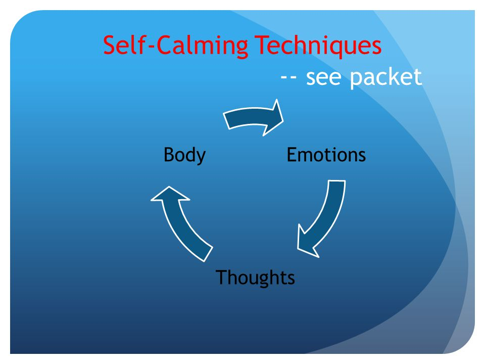Self-Calming Techniques -- see packet
