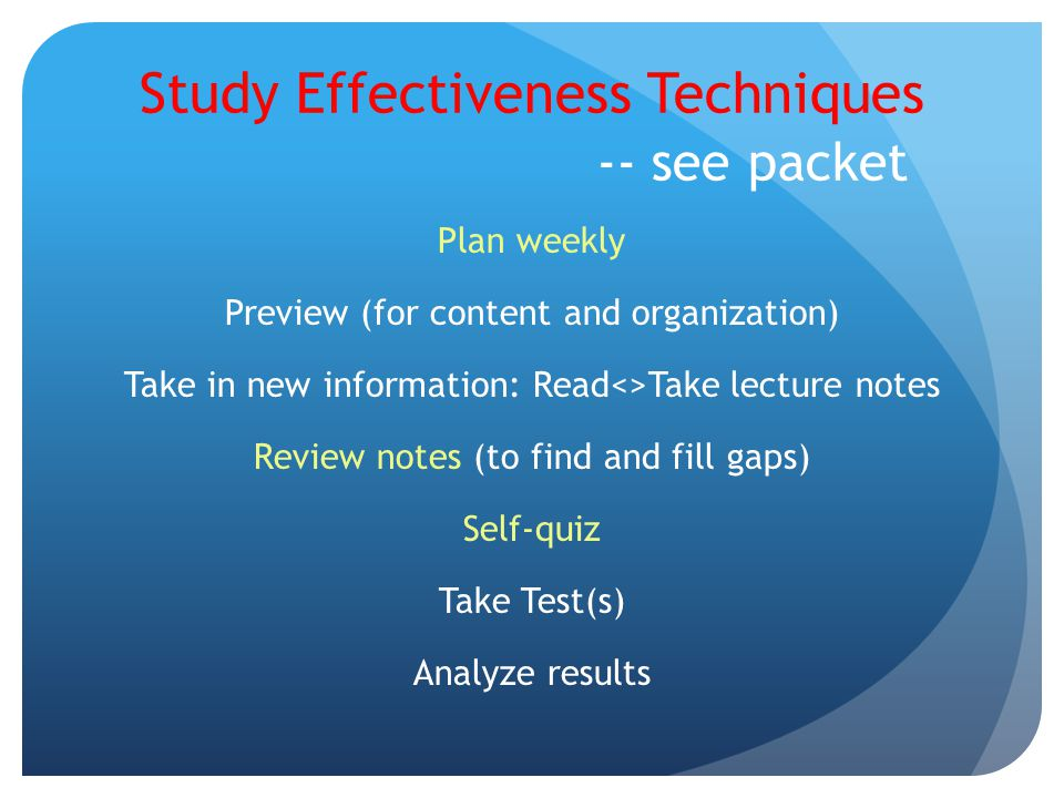 Study Effectiveness Techniques -- see packet