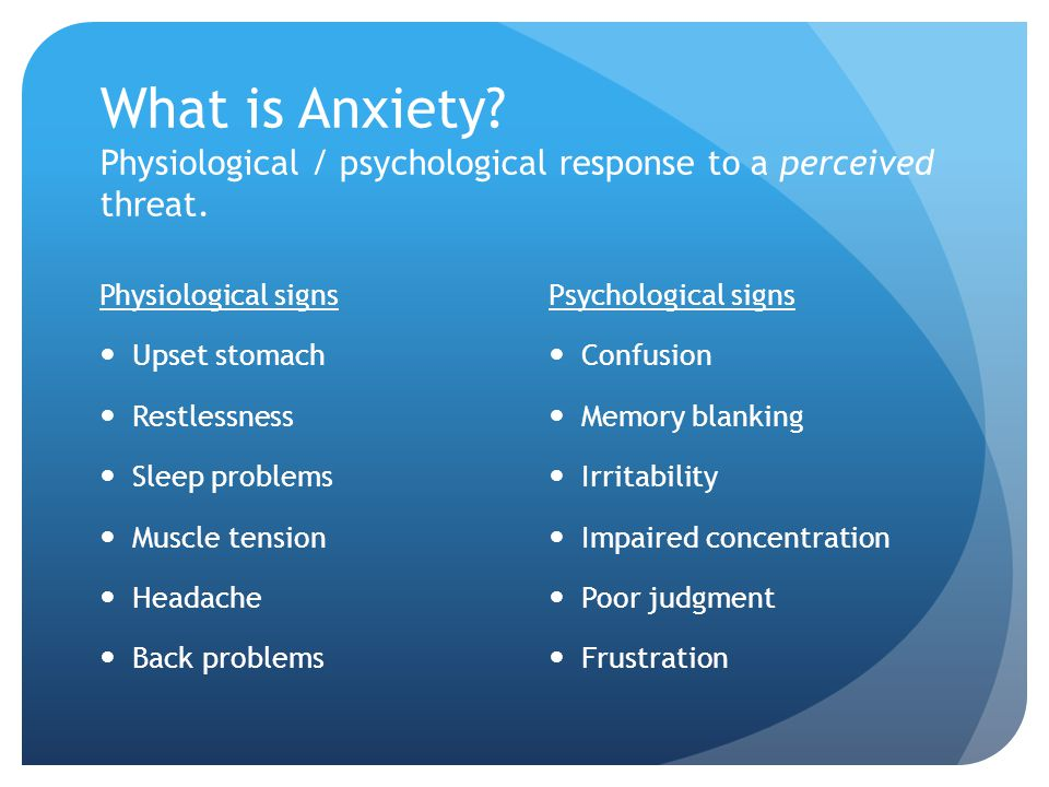 What is Anxiety Physiological / psychological response to a perceived threat.