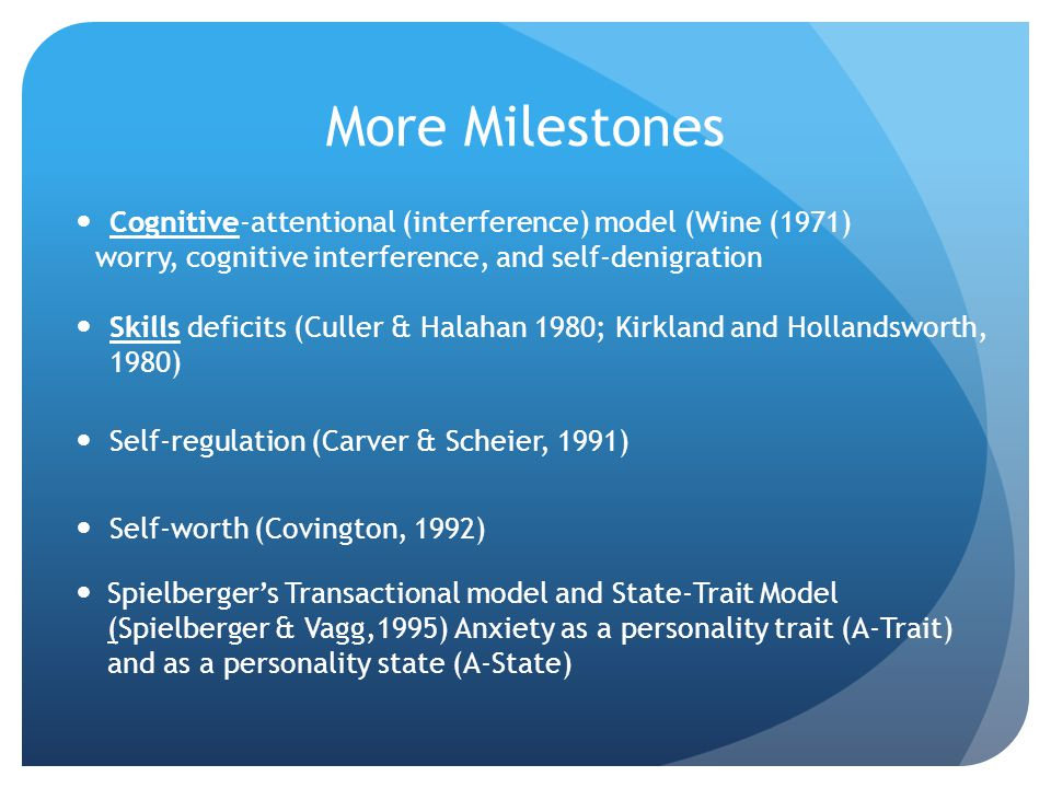 More Milestones Cognitive-attentional (interference) model (Wine (1971) worry, cognitive interference, and self-denigration.