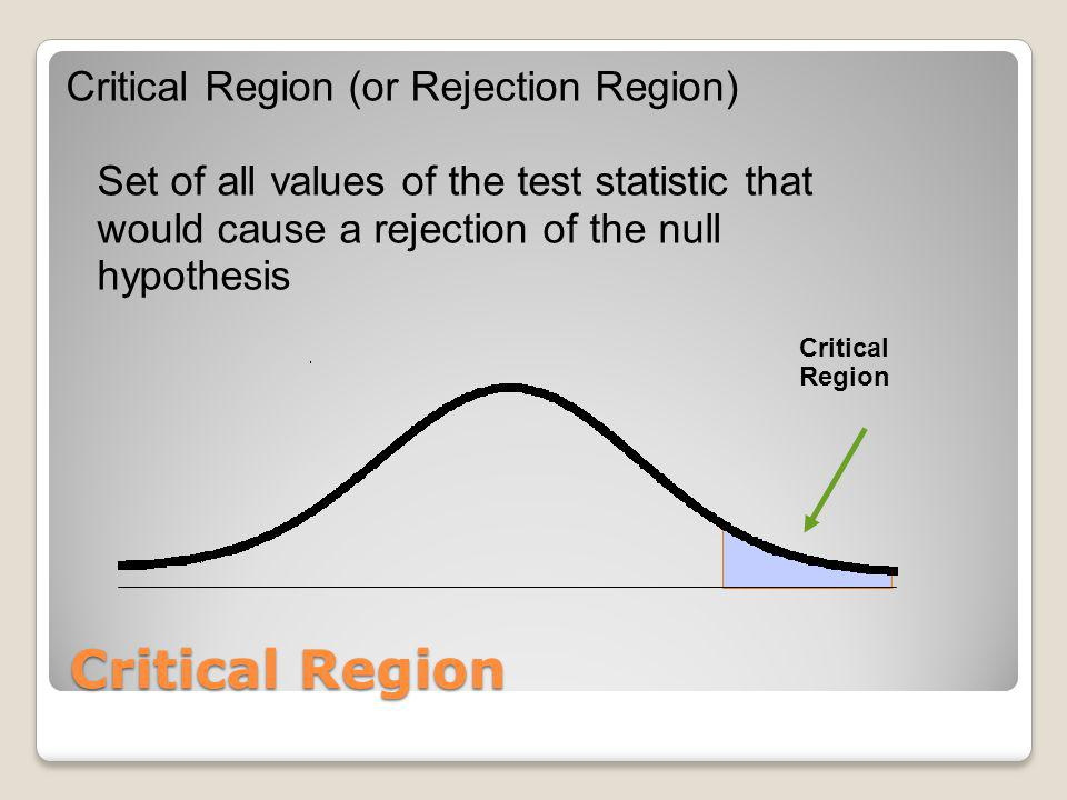 Critical Region (or Rejection Region) Set of all values of the test statistic that would cause a rejection of the null hypothesis