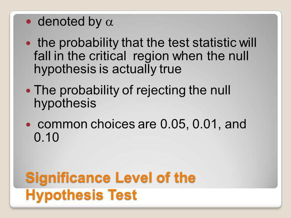 Significance Level of the Hypothesis Test
