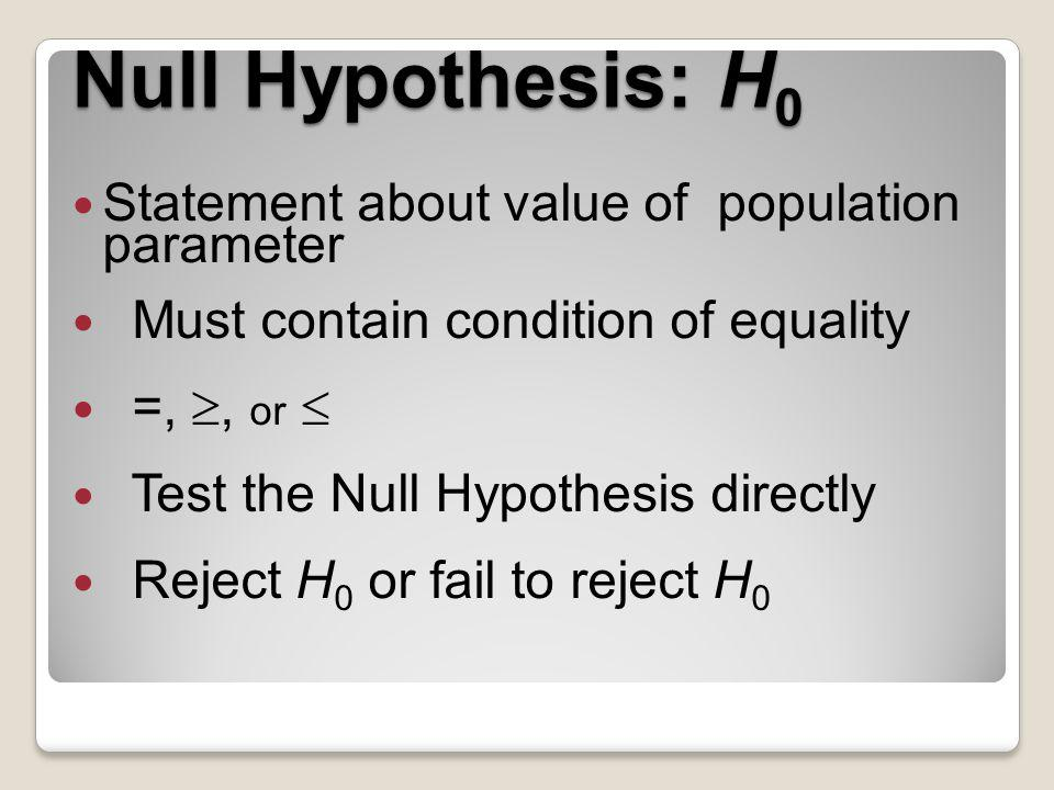 Null Hypothesis: H0 Statement about value of population parameter
