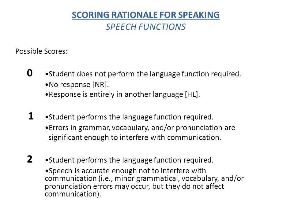 SCORING RATIONALE FOR SPEAKING SPEECH FUNCTIONS