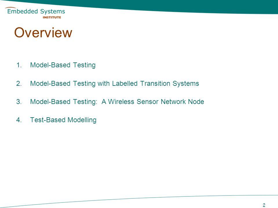 Overview Model-Based Testing