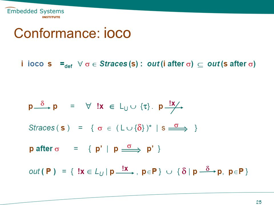 Conformance: ioco i ioco s =def    Straces (s) : out (i after )  out (s after ) p  p =  !x  LU  {} . p !x.