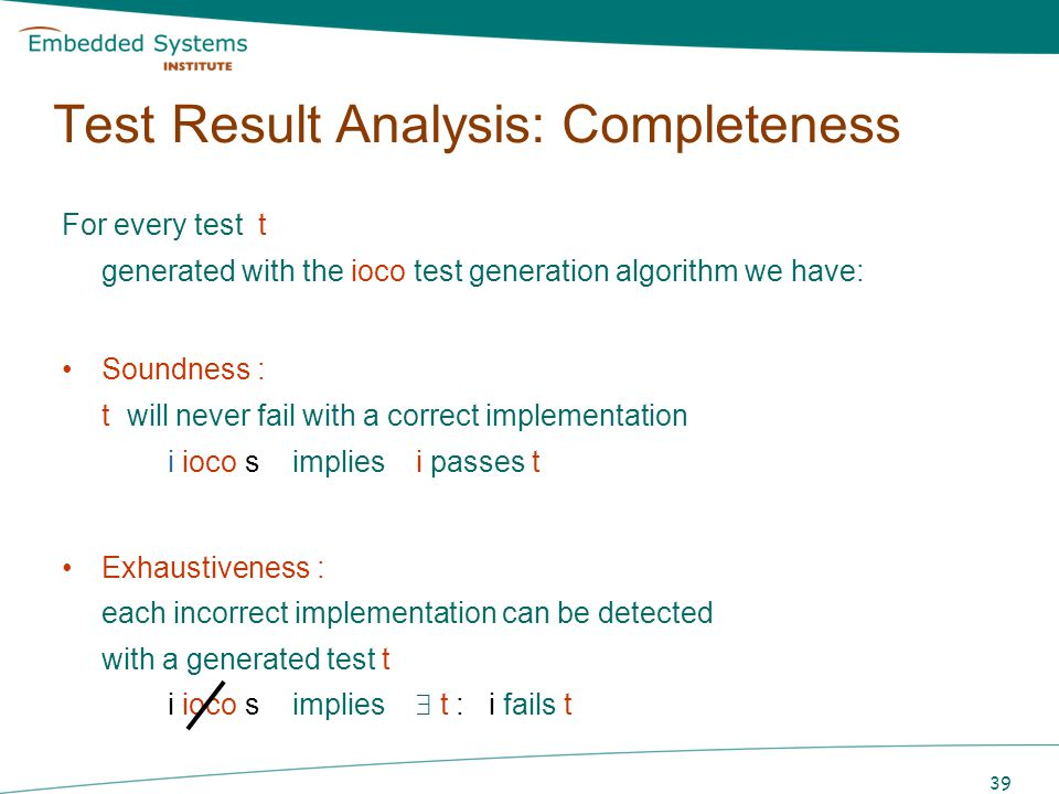 Test Result Analysis: Completeness