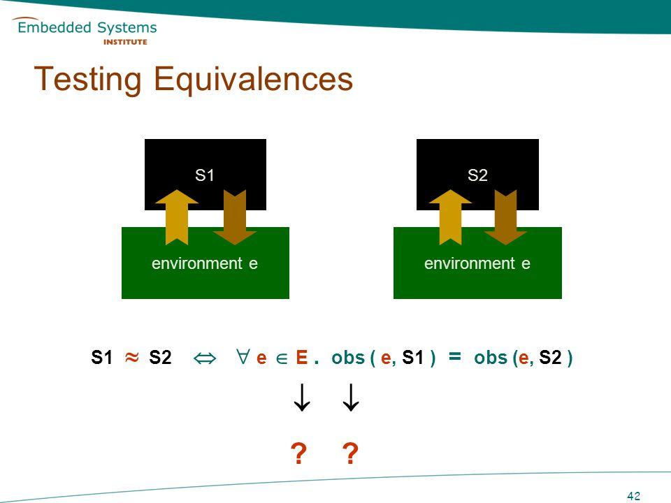 Testing Equivalences  