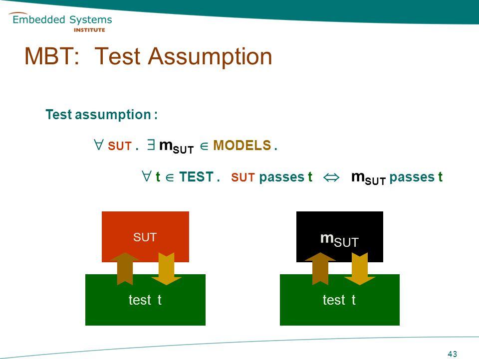 MBT: Test Assumption Test assumption :  SUT .  mSUT  MODELS .  t  TEST . SUT passes t  mSUT passes t.