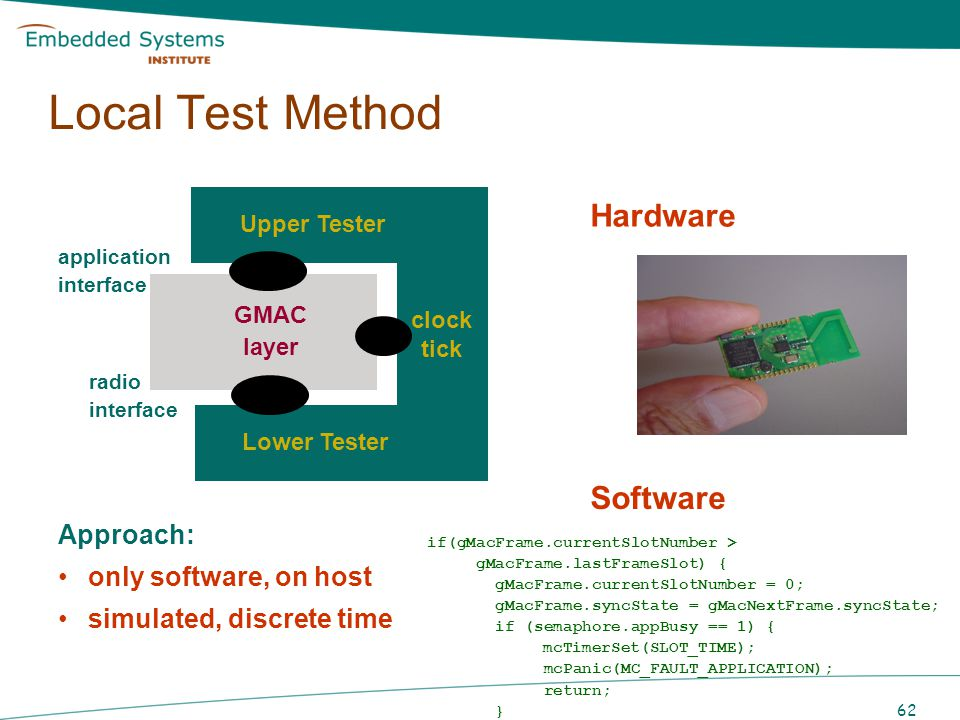 Local Test Method Hardware Software Approach: only software, on host