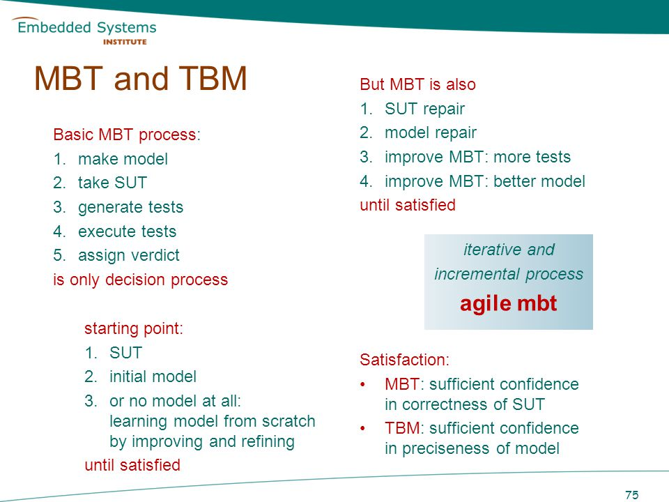 MBT and TBM agile mbt But MBT is also SUT repair model repair
