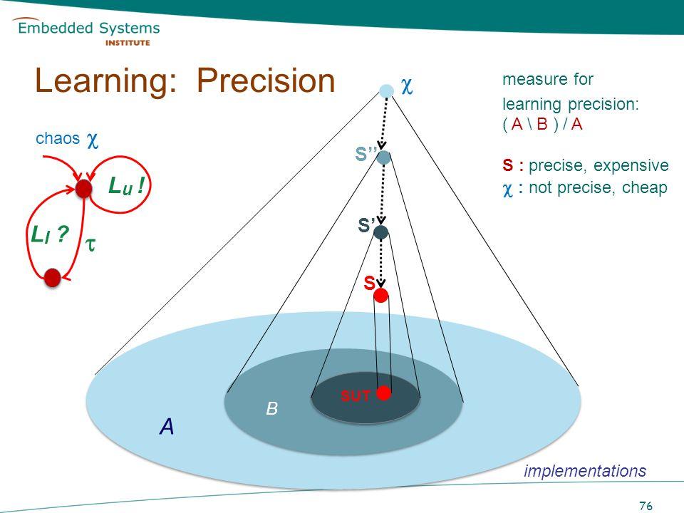 Learning: Precision  B  Lu ! LI A  : not precise, cheap S'' S' S