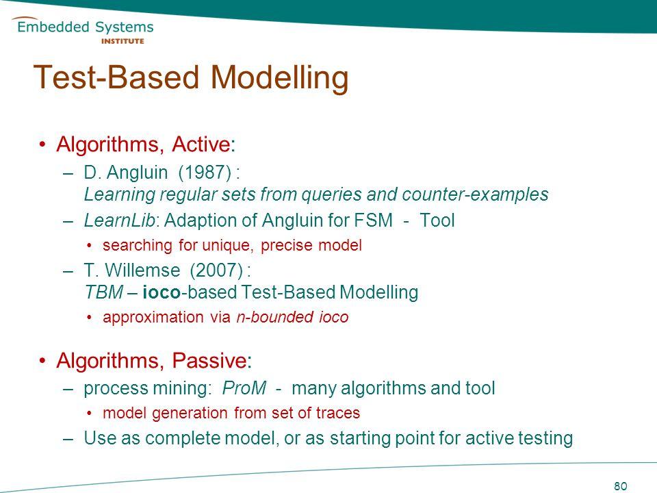 Test-Based Modelling Algorithms, Active: Algorithms, Passive: