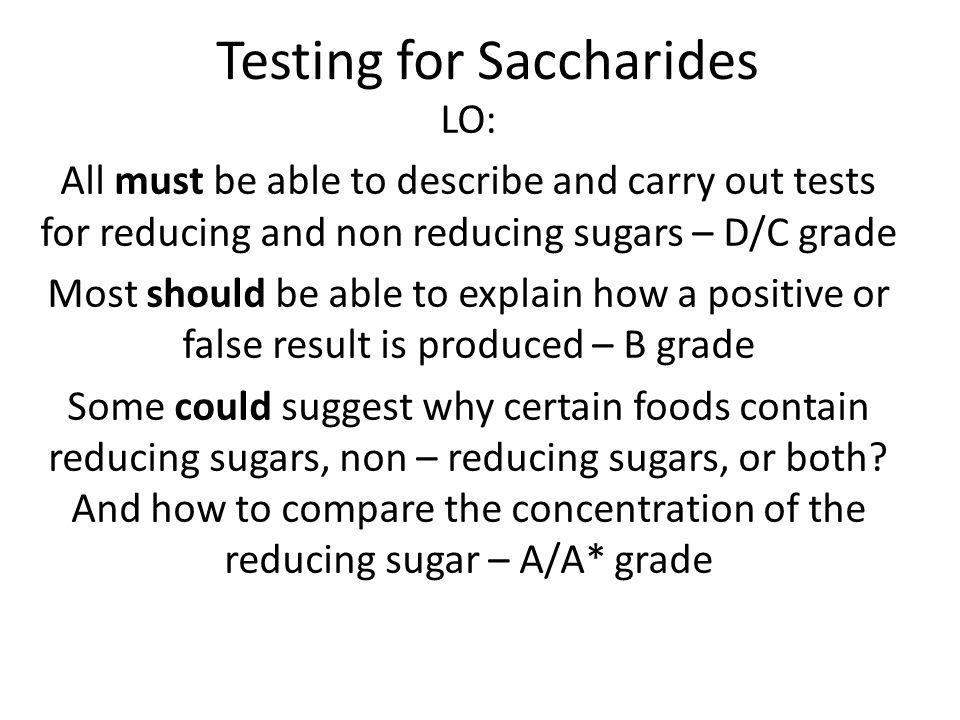 Testing for Saccharides