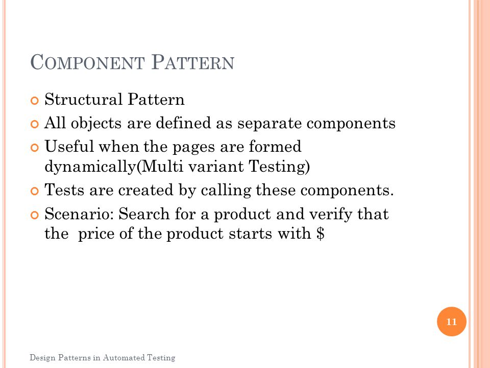 Component Pattern Structural Pattern