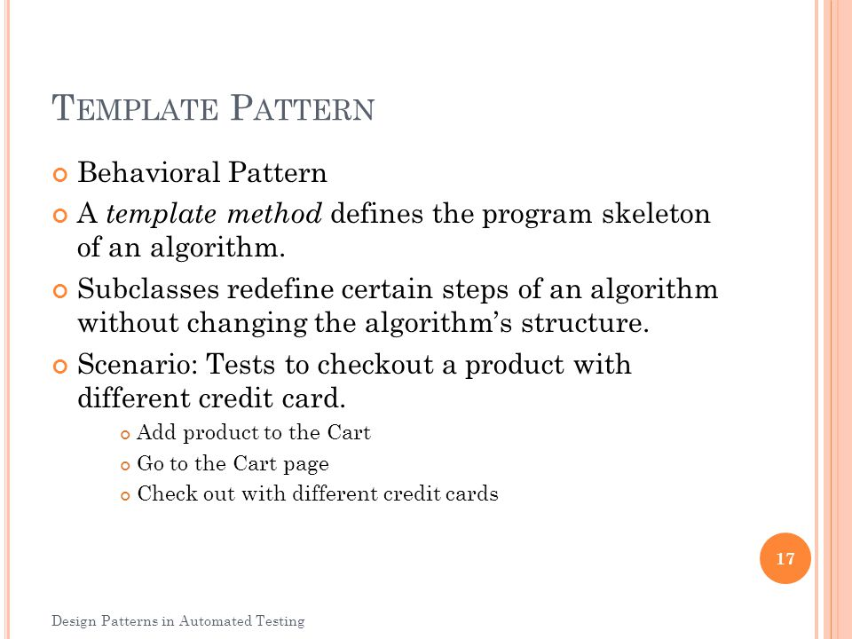 Template Pattern Behavioral Pattern