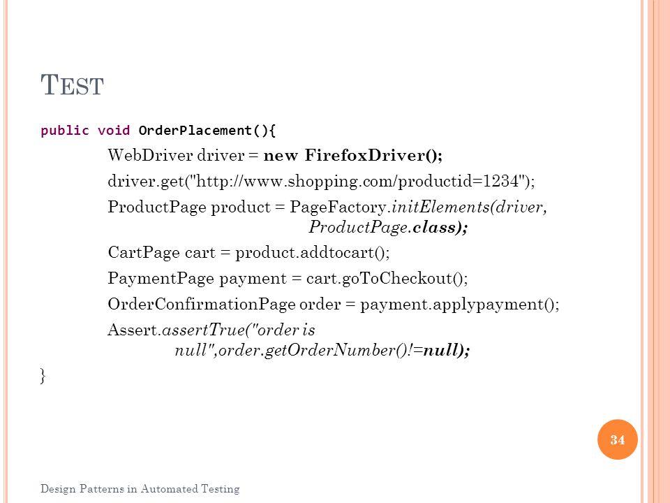 Test WebDriver driver = new FirefoxDriver();