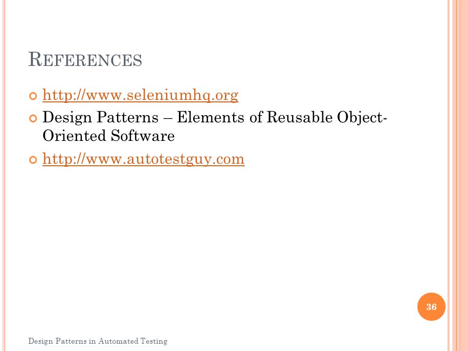 References http://www.seleniumhq.org