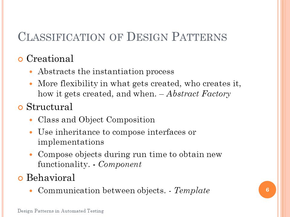 Classification of Design Patterns