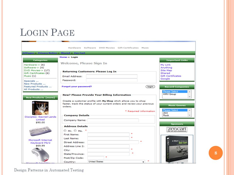 Login Page Design Patterns in Automated Testing