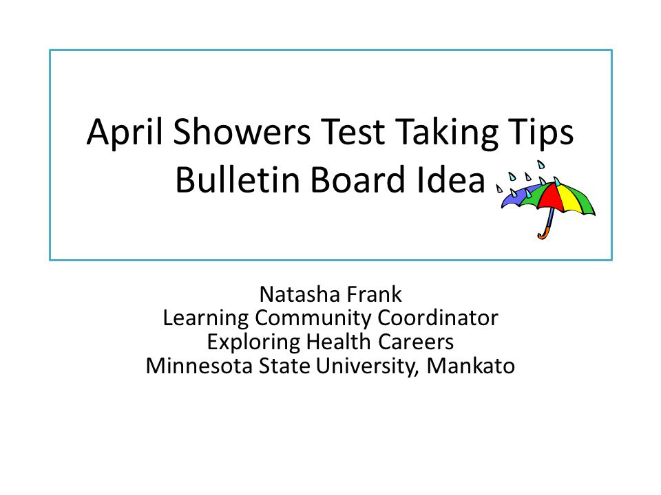 April Showers Test Taking Tips Bulletin Board Idea