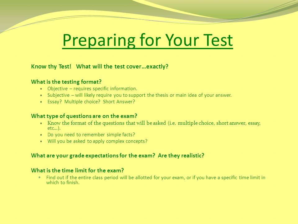 Preparing for Your Test