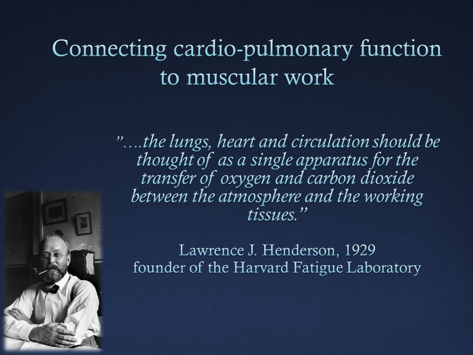 Connecting cardio-pulmonary function to muscular work