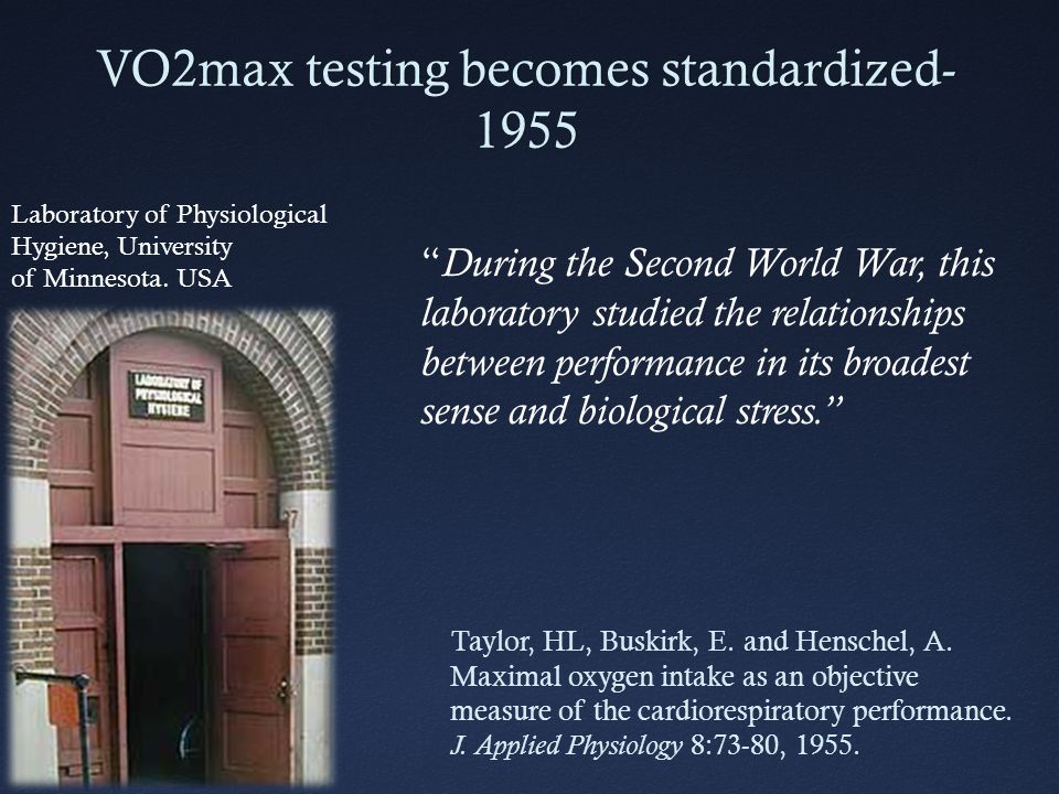 VO2max testing becomes standardized- 1955