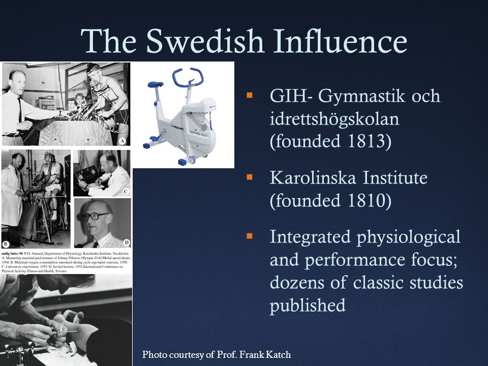 The Swedish Influence GIH- Gymnastik och idrettshögskolan (founded 1813) Karolinska Institute (founded 1810)