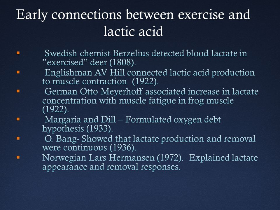 Early connections between exercise and lactic acid