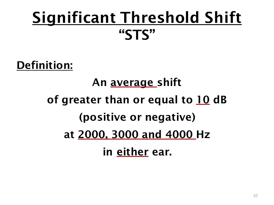 Significant Threshold Shift STS