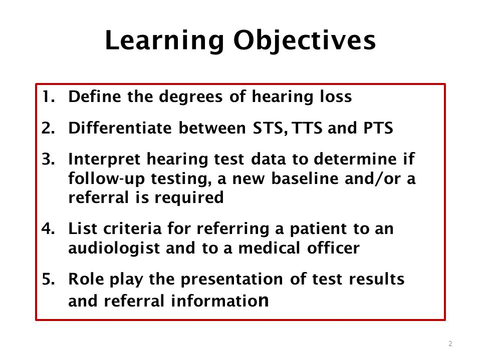 Learning Objectives Define the degrees of hearing loss