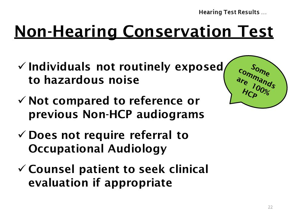 Non-Hearing Conservation Test