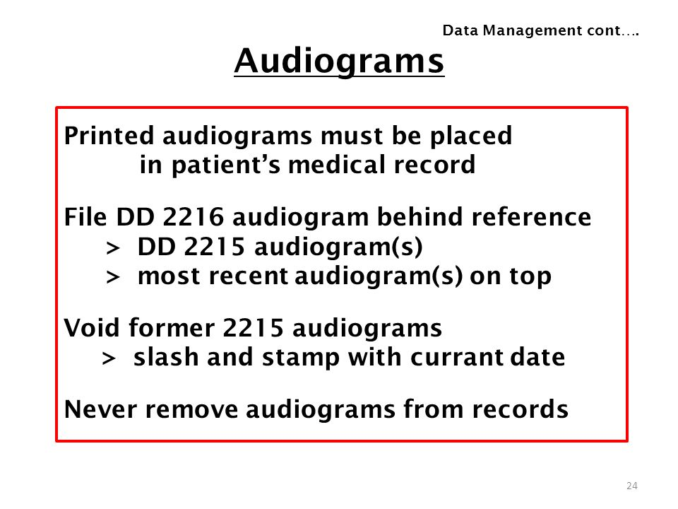 Data Management cont…. Audiograms.