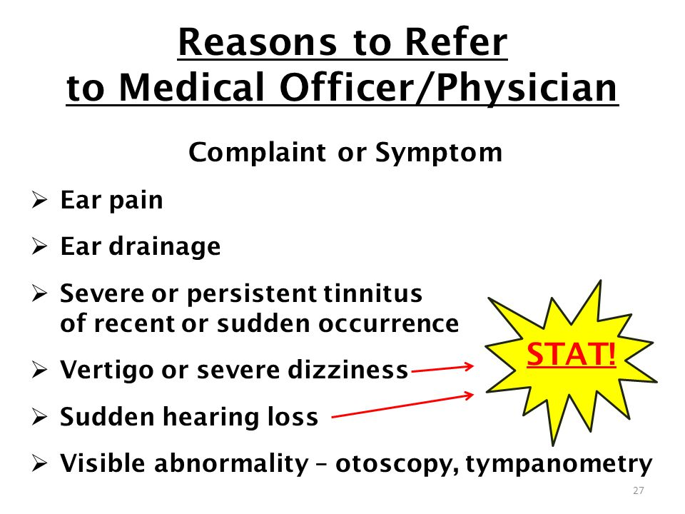 Reasons to Refer to Medical Officer/Physician