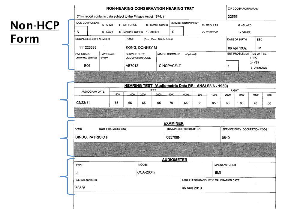 Non-HCP Form NON-HEARING CONSERVATION PROGRAM FORM (Non-HCP)
