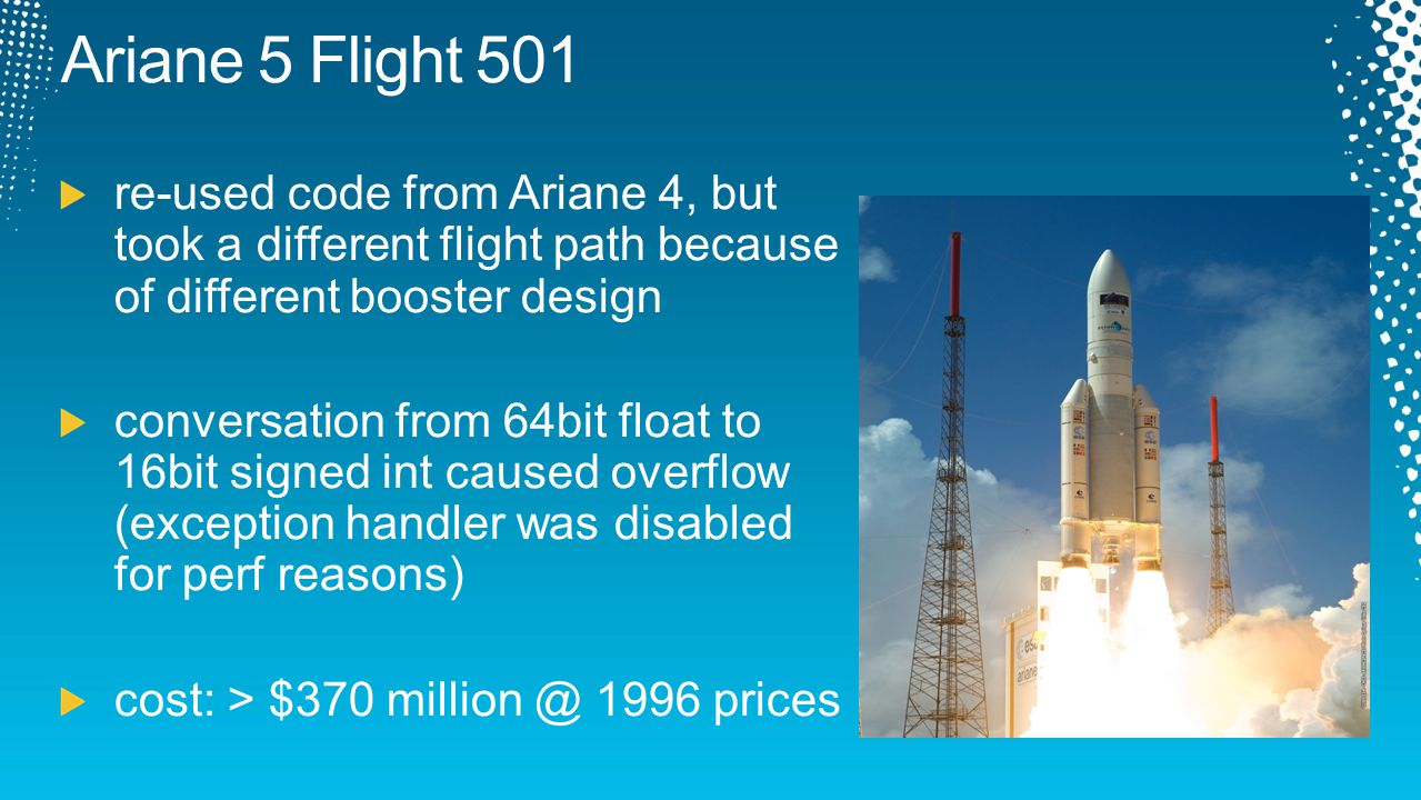 Ariane 5 Flight 501 re-used code from Ariane 4, but took a different flight path because of different booster design.