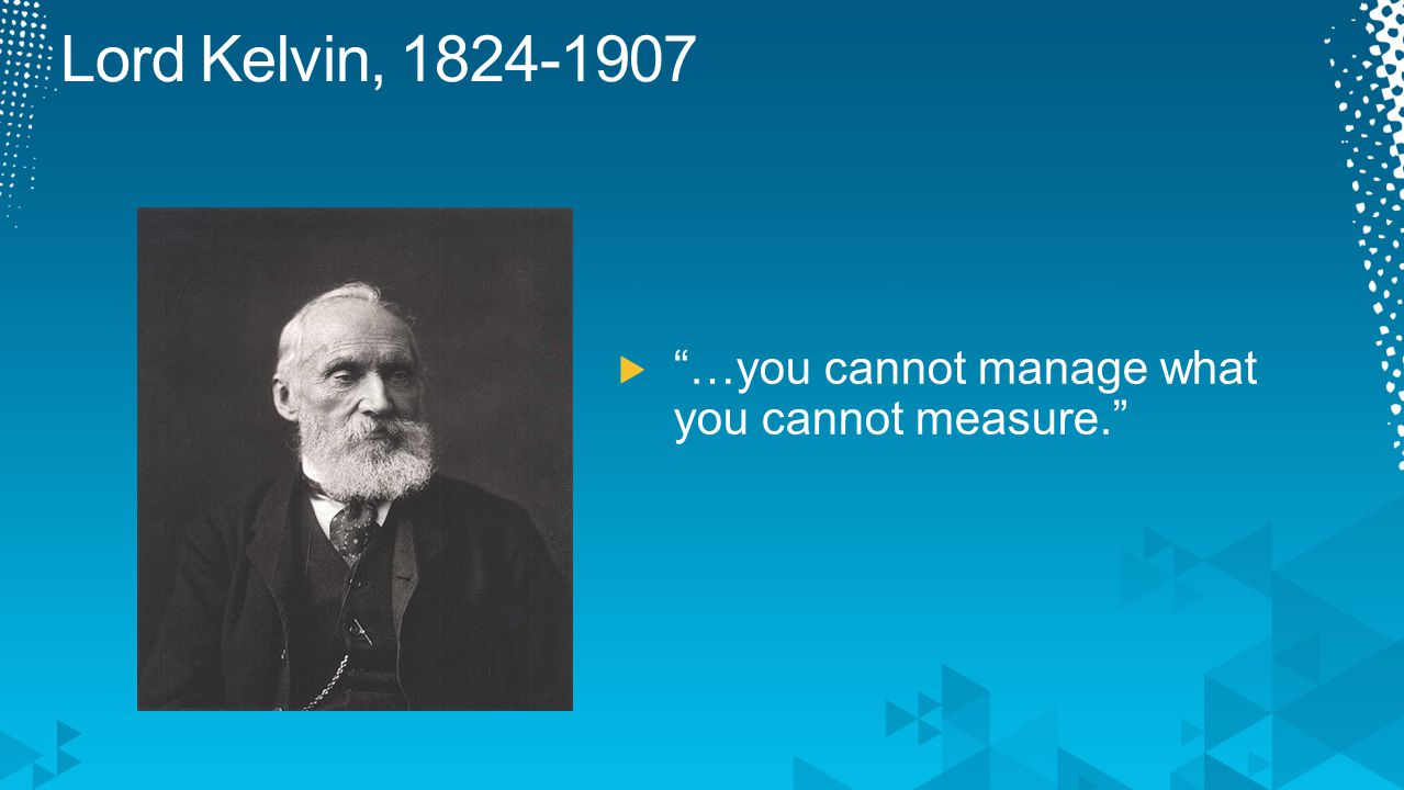 Lord Kelvin, …you cannot manage what you cannot measure.